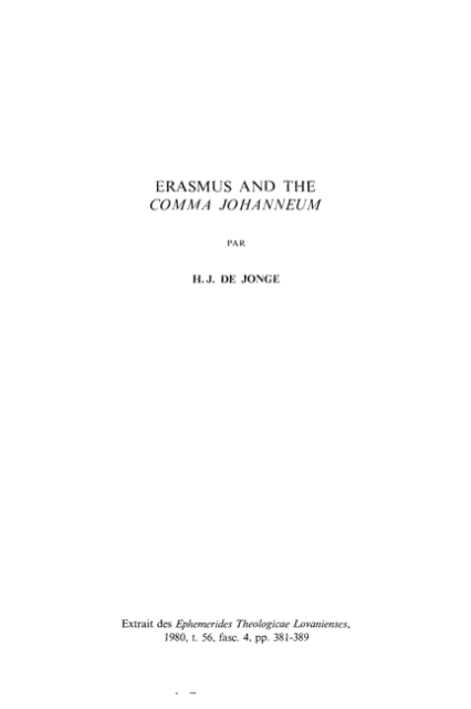 Book Cover: Erasmus and the Comma Johanneum
