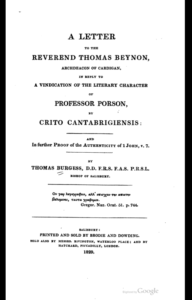 Book Cover: Further Proof of the Authenticity of 1 John, v. 7