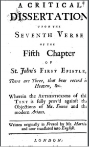 Book Cover: A Critical Dissertation Upon the Seventh Verse of the Fifth Chapter of St. John's 1st Epistle