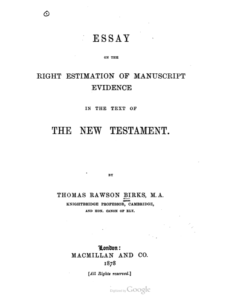 Book Cover: On the Right Estimation of Manuscript Evidence in the New Testament