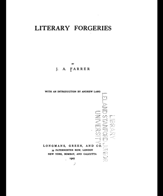 Book Cover: Literary Forgeries by J. A. Farrer
