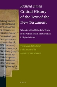 Book Cover: Richard Simon Critical History of the Text of the New Testament