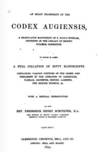 Book Cover: An Exact Transcript of the Codex Augiensis by F.H. Scrivener
