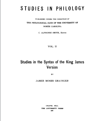 Book Cover: Studies in the Syntax of the KJV