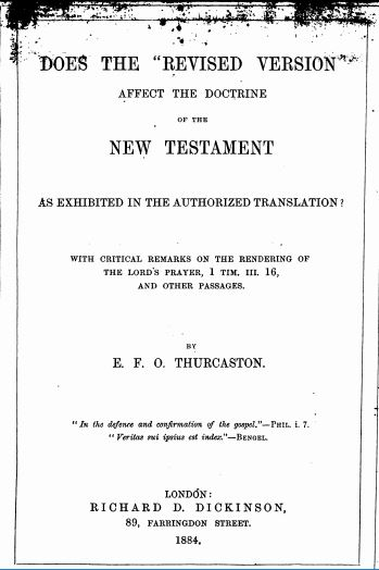 "Book Cover: Does the ""Revised Version"" Affect the Doctrine of the New Testament as Exhibited in the Authorized Translation?"