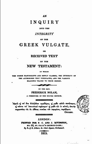 Book Cover: An Inquiry into the Integrity of the Greek Vulgate