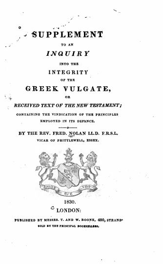 Book Cover: Supplement to an Inquiry into the Integrity of the Greek Vulgate