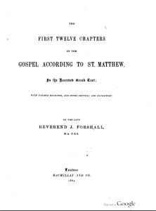 Book Cover: The First Twelve Chapters of the Gospel according to St. Matthew