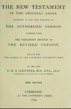 Book Cover: Scrivener's 1894 Greek New Testament