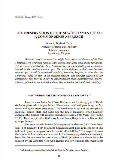 Book Cover: The Preservation Of The New Testament Text