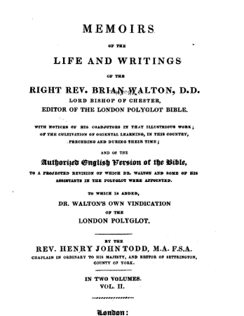 Book Cover: Memoirs of the life and writings of the Right Rev. Brian Walton