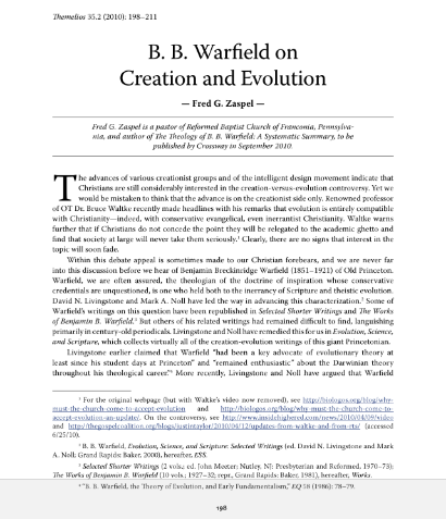 Book Cover: B.B. Warfield on Creation and Evolution
