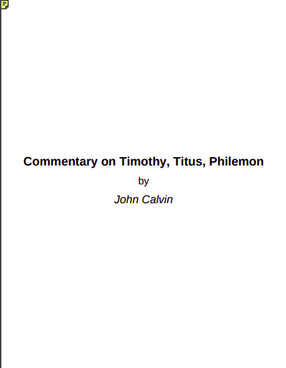 Book Cover: Commentary on Timothy, Titus, Philemon