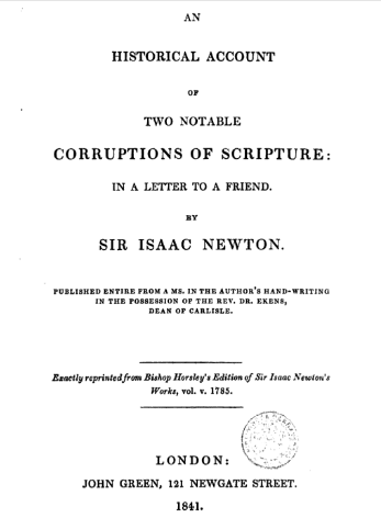 Book Cover: An Historic Account of Two Notable Corruptions of Scripture