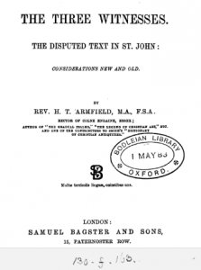 Book Cover: The Three Witnesses. The Disputed Text in St. John