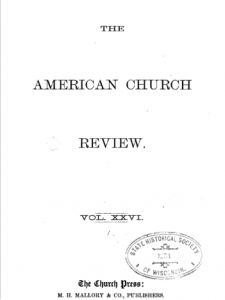 Book Cover: The American Church Review