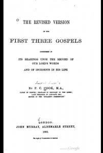 Book Cover: Revised Version of the 1st 3 Gospels Considered