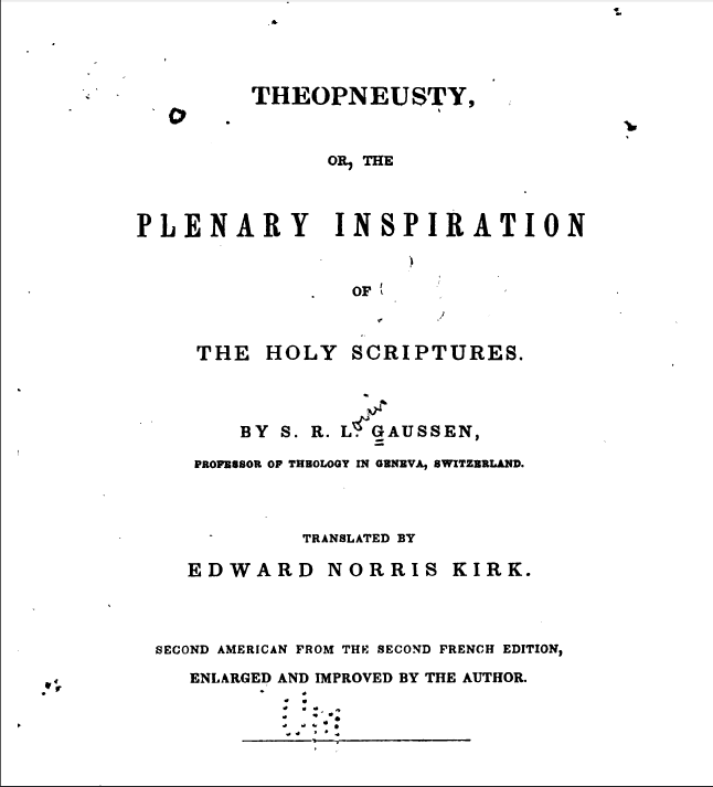 Book Cover: Theopneusty or the Plenary Inspiration of Holy Scriptures