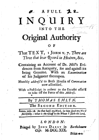 Book Cover: A full enquiry into the original authority of that text, 1 John v. 7