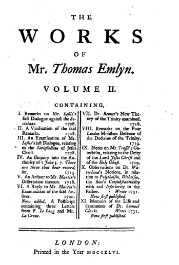Book Cover: The works of Unitarian Thomas Emlyn Volume 2