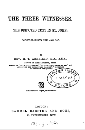 Book Cover: The three witnesses, the disputed text in st. John