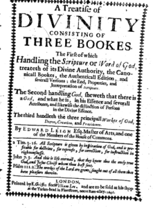 Book Cover: A Treatise of Divinity by Edward Leigh