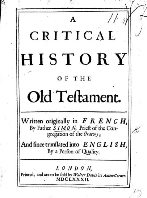 Book Cover: Critical History of the Old Testament