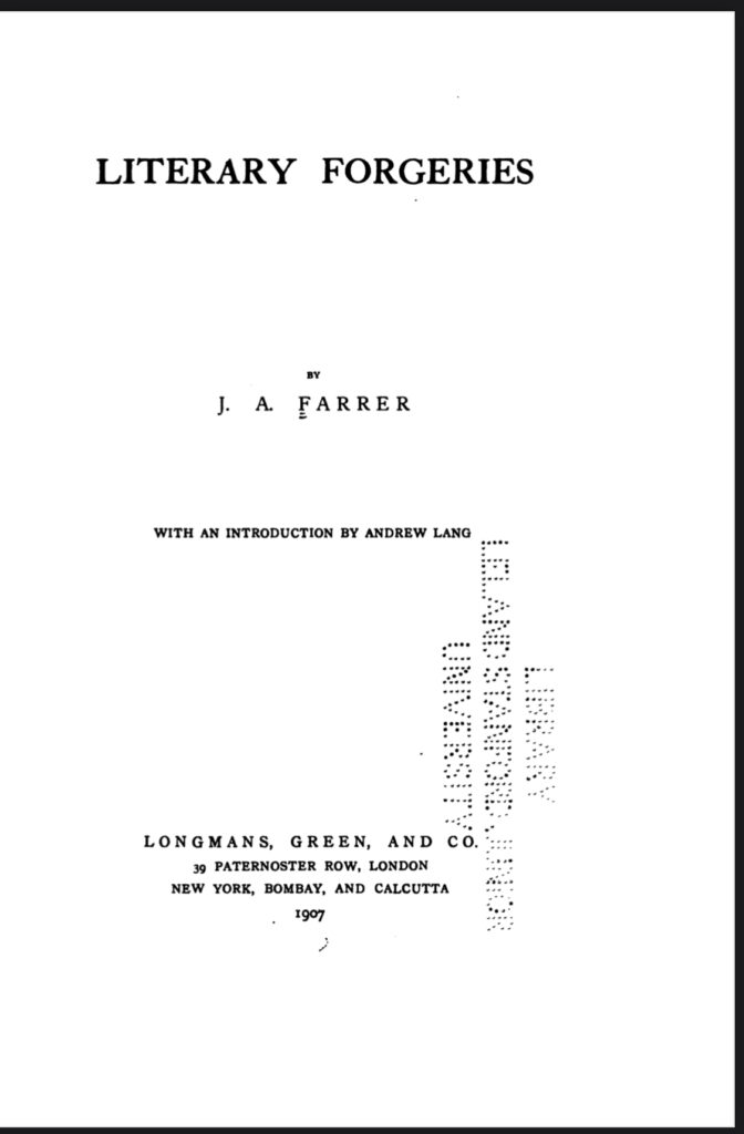 Book Cover: Literary Forgeries